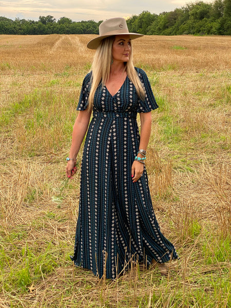 Callahan Aztec Print Maxi Wrap Dress