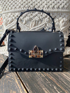 Val Black Studded Crossbody Bag