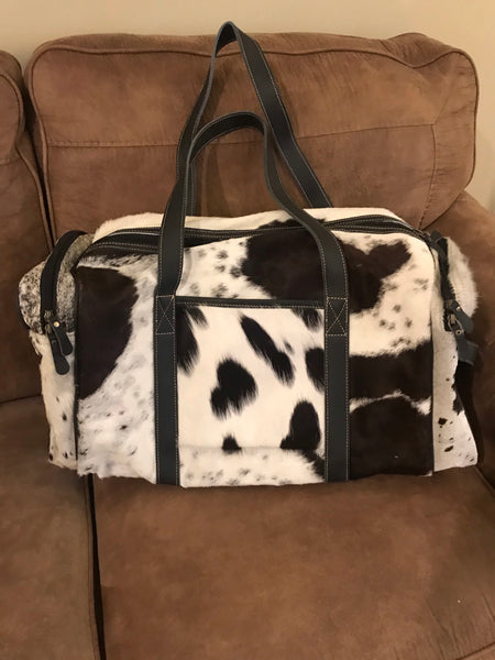 Black & White Animal Print Carry On Duffle Bag