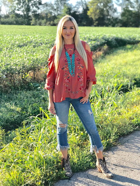 Harvest Embroidered Cold Shoulder Top in Rust