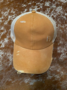 Summer Girl Distressed Ball Cap in Gold