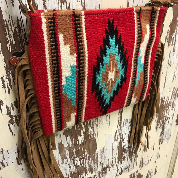 Desert Rose Saddle Blanket Fringe Handbag