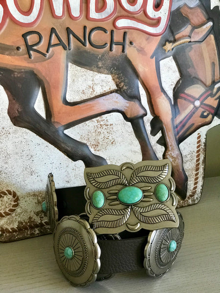 The Joanna Brown Turquoise Concho Belt