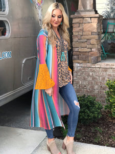 Cotton Candy Serape Lace Duster