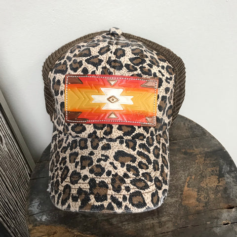 Leopard Orange Pendleton Leather Patch Ball Cap
