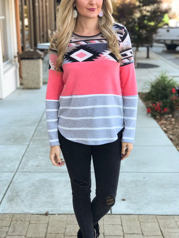 Nampa Aztec Color Block Top in Coral