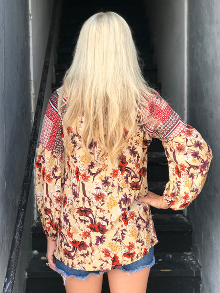 Penny Lane Floral Top in Natural