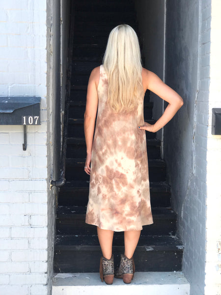 Old Mexico Brown Tie Dye Dress