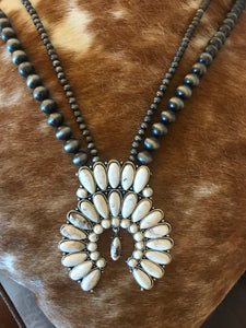 Lonestar Squash Double Strand Necklace in White