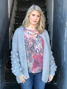 Brooke Bubble Cardigan in Grey