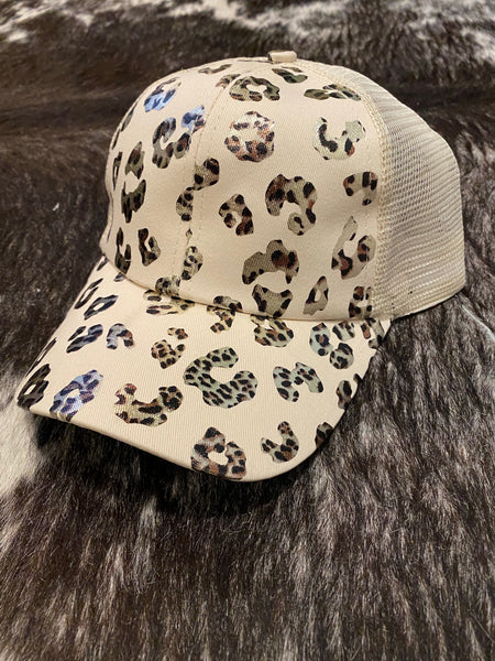 Summer Girl Distressed Ball Cap in Gold Leopard