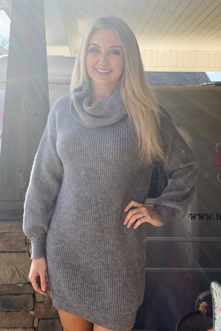 Tatum Sweater Dress in Grey