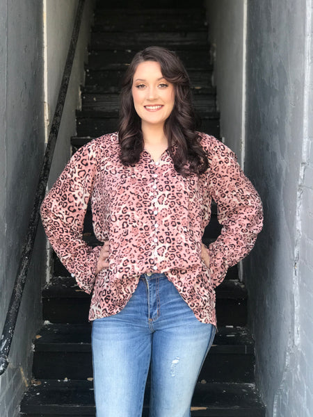 Love Letter Leopard Top in Mauve