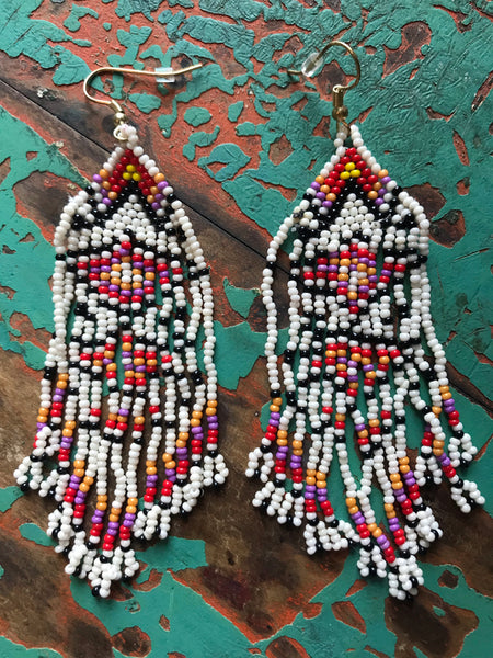 Texicana White Beaded Fringe Earrings