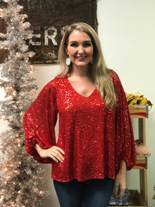 High Roller Sequin Top in Red