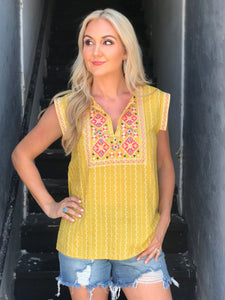 Madrid Mustard Embroidered Top