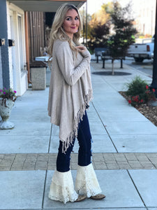 Carissa Fringe Sweater Cardigan in Oatmeal