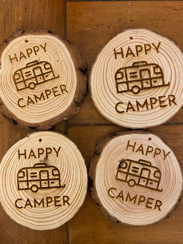 Happy Camper Wooden Ornament