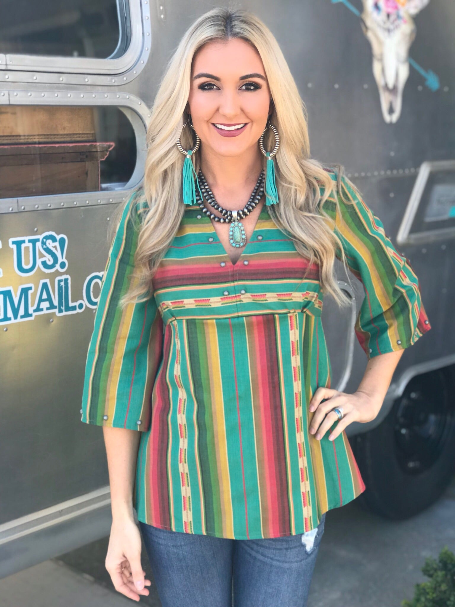 Silverado Zoey Empire Waist Serape Top