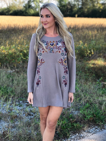 Memphis Mocha Embroidered Dress