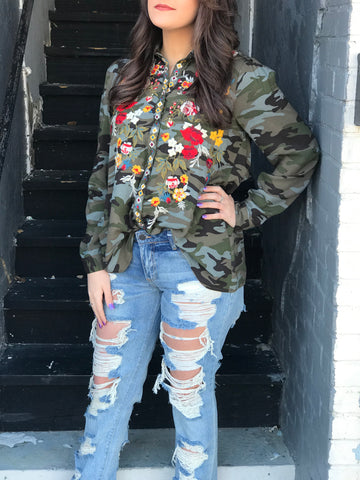 Camo Kelly Embroidered Floral Top