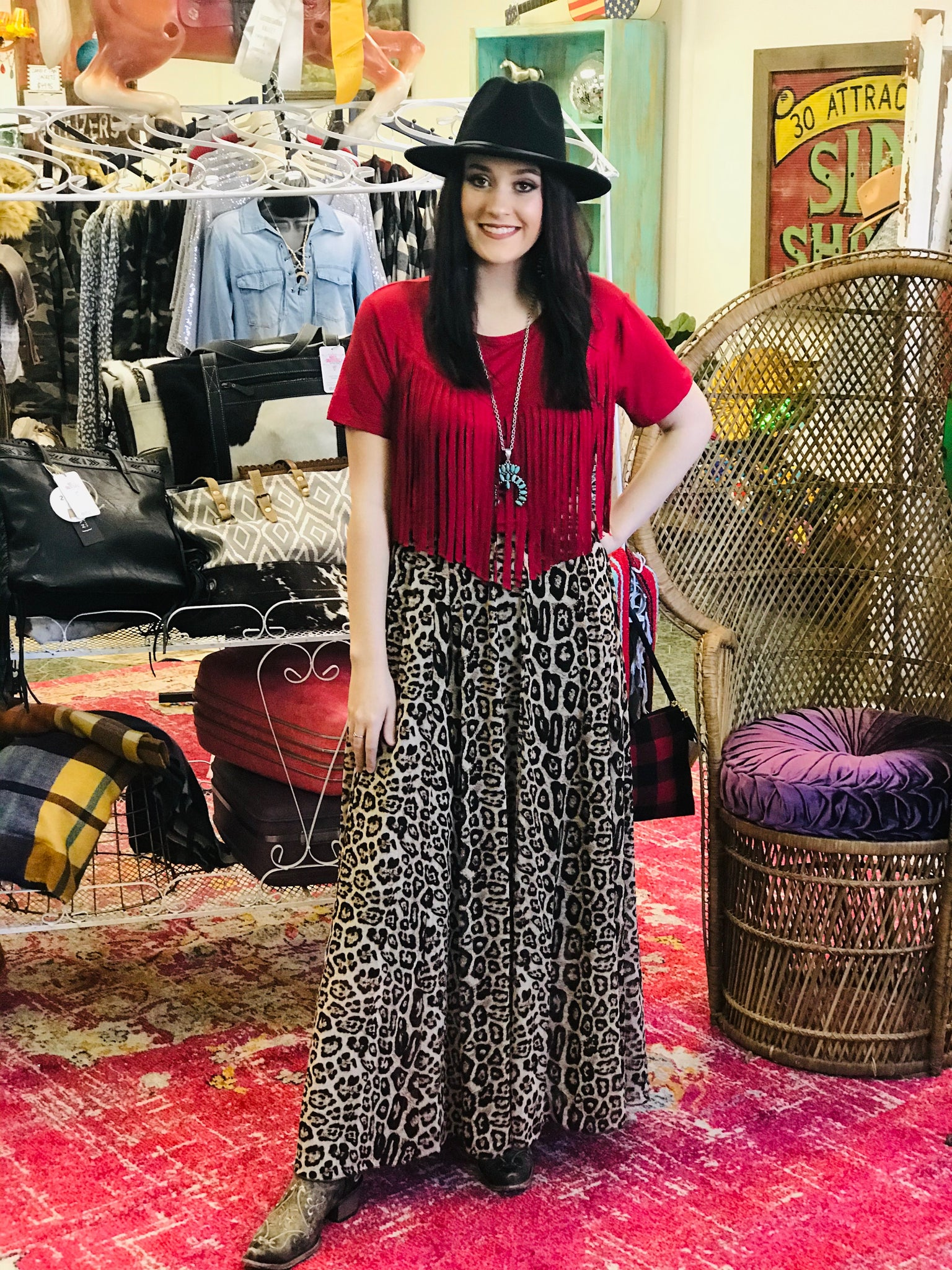Midland Animal Print Pleat Maxi Skirt
