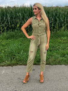 Sage Denim Jumpsuit