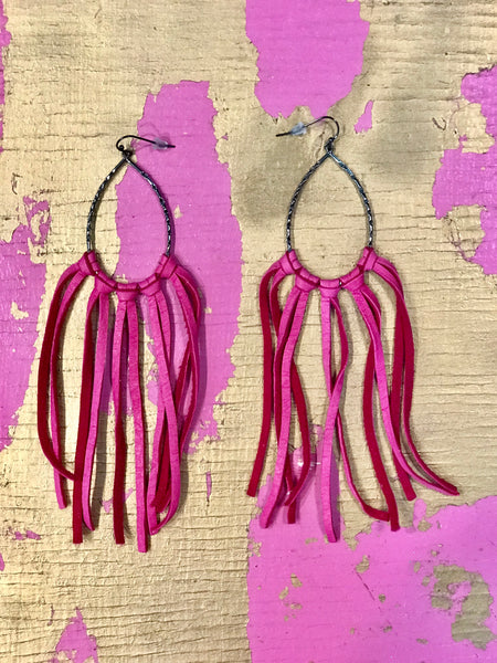 Leather Fringe Hot Pink Earrings