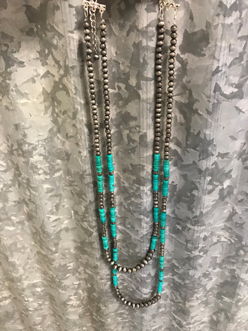St.Anejo Turquoise & Silver Necklace
