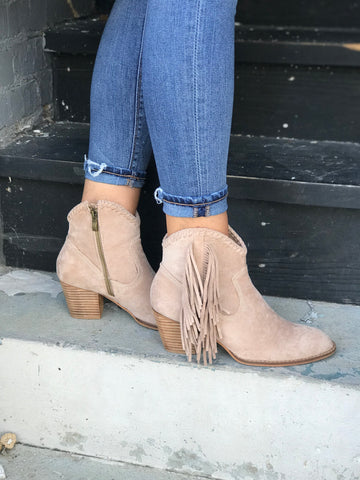 Stagecoach Fringe Booties in Taupe