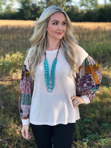 Abby Lane Bandana Sleeve Top