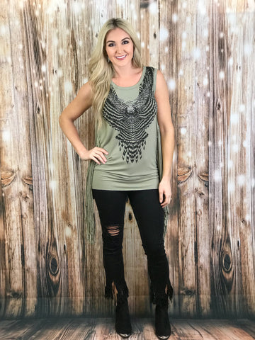 The Brooke T-bird Fringe Tank