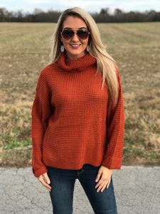 Winter Wishes Cowl Neck Sweater in Rust