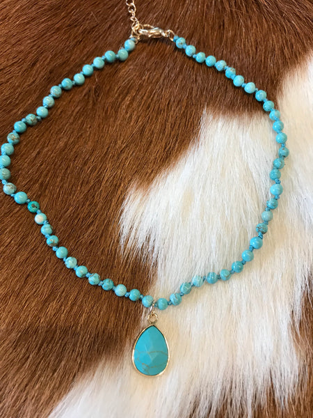 Hippie Love Choker Necklace (in Turquoise)