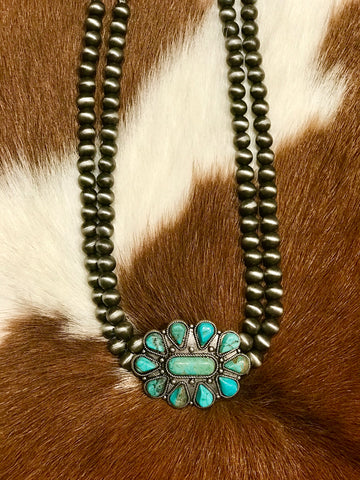 Western Pearl & Turquoise Pendant Choker