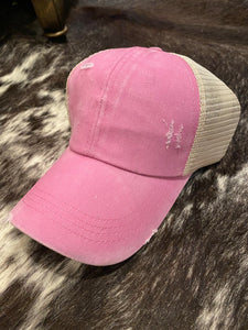 Summer Girl Distressed Ball Cap in Pink