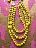 Three Strand Yellow Necklace