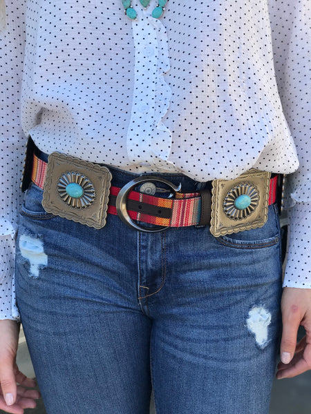 Arizona Red Serape Concho Belt