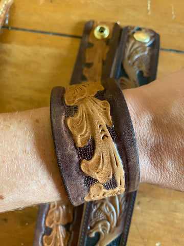 Whispering Pines Tooled Belt Cuff