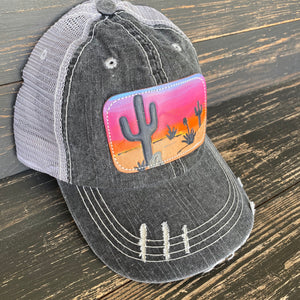 Desert Sunset Charcoal Leather Patch Ball Cap