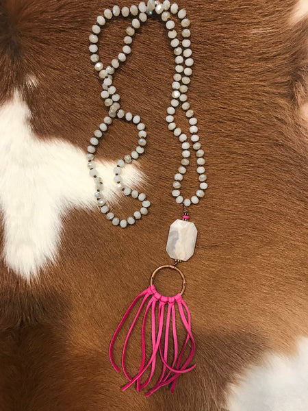 Ice Crystal & Pink Tassel Necklace