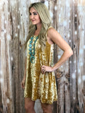 Lupe Velvet Studded Dress in Gold