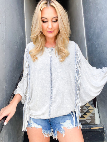 Smoke Fringe Mineral Wash Top