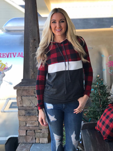 Winter Woods Buffalo Plaid Color Block Hoodie