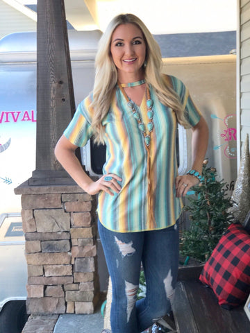 Seminole Mustard Serape Top