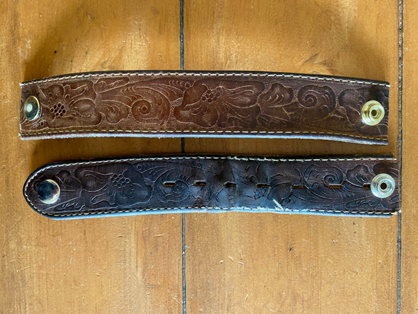 Chestnut Tooled Belt Cuff