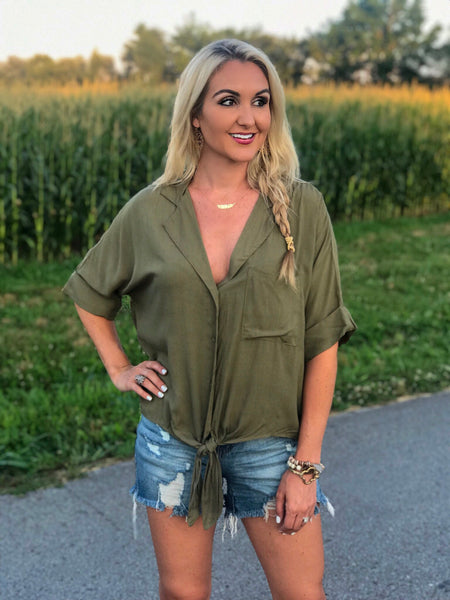 Monsoon Olive Button Down Top