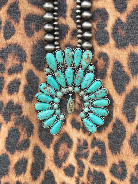 Lonestar Squash Double Strand Necklace in Turquoise