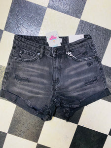 Calhoun Black Denim Cuffed Shorts