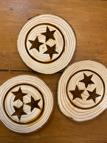 Tri Star Wooden Ornament